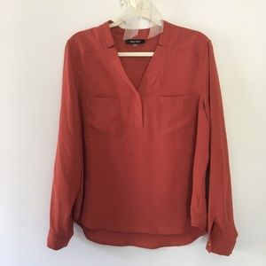 Nine West long sleeve blouse rust color